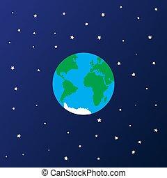 espace, étoile, icône, la terre