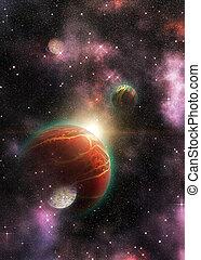 espace, 3d, étranger, planète