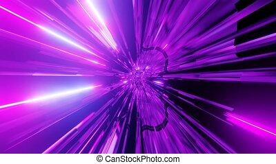 espace, 3d, rose, scifi, tunnel, incandescent, lumières, illustration, boucle, vj, néon