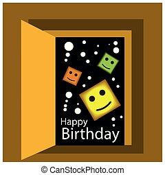 espace, anniversaire, arrière-plan., vecteur, conception, étoiles, heureux