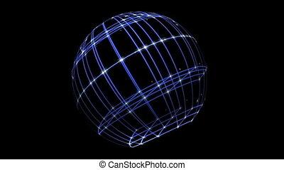 espace, antimation, sphère, cyber, 3d, réseau