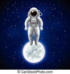 espace, astronaute, vecteur, lune