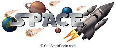 espace, bannière, planète