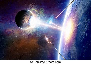 espace, bateaux, planète, extraterrestre, attaque, la terre