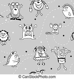 espace blanc, papiers peints, rigolote, noir, stars., paper., monstres, idéal, bébé, textile, seamless