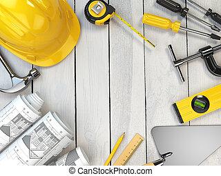 espace, bois, truelle, dur, text., arrière-plan., construction, niveau, outils, dessin, casque