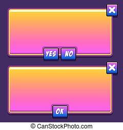 espace, boutons, jeu, ui, interface, panneaux