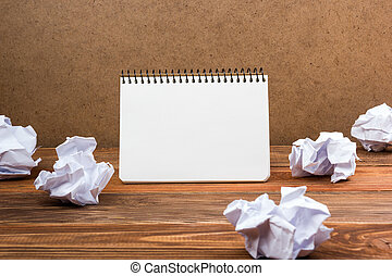 espace bureau, bloc-notes, papier, vide, worplace., blanc, copie, livre