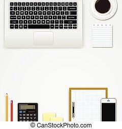 espace bureau, mobile, sommet, appareils, lieu travail, espace de travail, bureau, fournitures, vue., copie