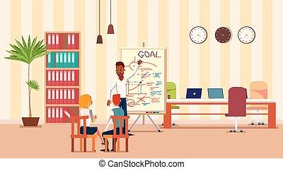 espace bureau, ouvert, créatif, orateur, présentation