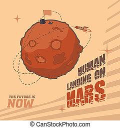 espace, carte postale, vendange, atterrissage, humain, mars