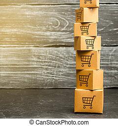 espace, carton, services., carts., logistique, commerce ligne, modèle, livraison, tour, puissance, marchandises, distribution., ventes, achat, e-commerce, boîtes, shopping., achats, copie, order.