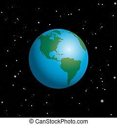 espace, ciel étoilé, planète, nuit, la terre