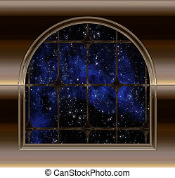 espace, ciel, regarder, fenêtre, nuit, ou, dehors