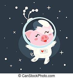 espace, cochon, complet