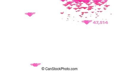 espace, coeur, texte, valentin, compte, voler, cœurs, rose, tomber, copie