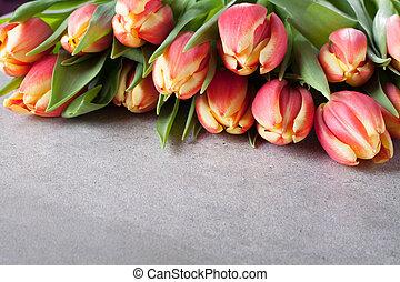 espace copy, bouquet, tulipe, fond, fleurs