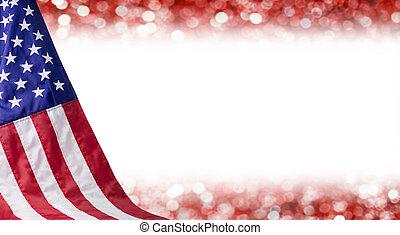 espace copy, drapeau, américain, autre, 4, fond, juillet, bokeh, jour, indépendance, célébration