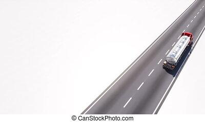 espace copy, essence, isolé, blanc, pétrolier, route