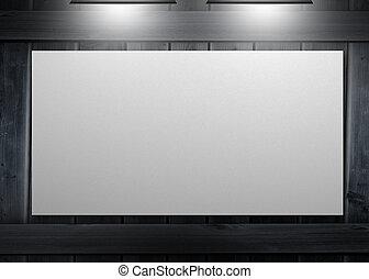 espace copy, pendu, mur, affiche, blanc