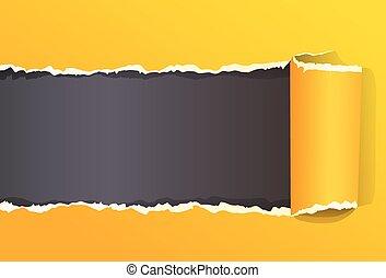 espace, couleur, déchiré, jaune, papier, emballé, message, copie