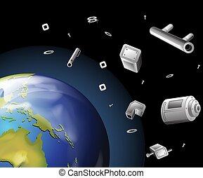 espace, déchets ménagers, la terre