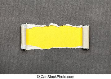 espace, déchiré, jaune, papier, message, ton