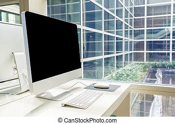 espace de travail, bureau, table, informatique
