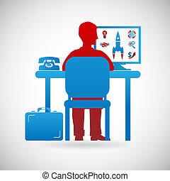 espace de travail, business, symbole, travail, illustration, vecteur, conception, gabarit, homme affaires, icône
