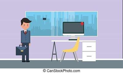 espace de travail, gens bureau