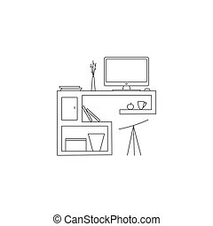 espace de travail, vecteur, ligne, illustration.