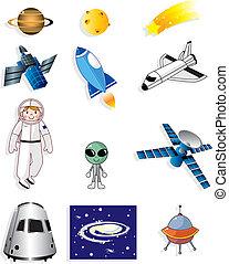 espace, dessin animé, icône
