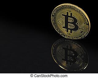 espace, doré, bitcoin, noir, reflet, fond, copie