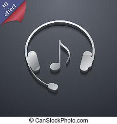 espace, ecouteurs, moderne, symbole., rastrized, branché, conception, texte, 3d, style., ton, icône