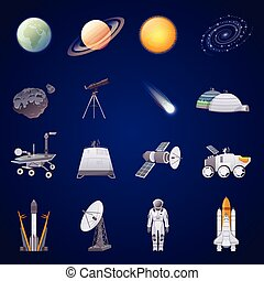 espace, ensemble, exploration, icônes, plat
