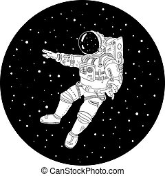 espace extérieur, illustration, noir, astronaute, blanc