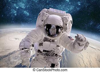 espace extérieur, sur, contre, planète, astronaute, typhon, earth., toile de fond