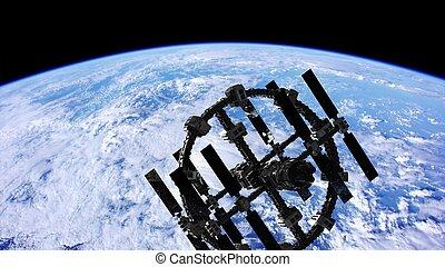 espace extérieur, sur, planète, station, international, la terre