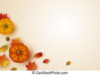espace, feuilles, thanksgiving, illustration, vecteur, conception, copie, érable, citrouille