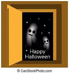 espace, halloween, arrière-plan., vecteur, conception, étoiles, heureux