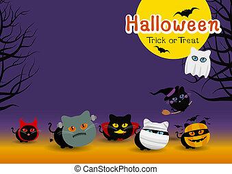 espace, halloween, illustration, vecteur, conception, déguisement, chats, copie, bannière
