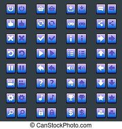 espace, icônes, icônes, boutons, jeu, interface