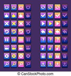espace, icônes, icônes, boutons, jeu, ui, interface