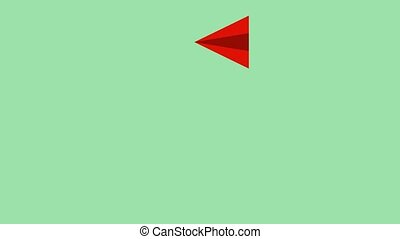 espace, isolé, animation, avion, devant, u-turn, voler, ...