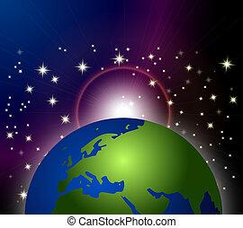 espace, la terre, fond