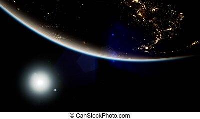 espace, la terre, planète, nuit, soleil