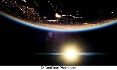 espace, la terre, planète, soleil, nuit