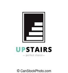 espace, logo., marque, négatif, signe, vecteur, escalier