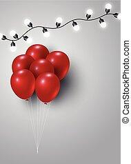 espace, lumière, balloon, ampoule, copie, rouges