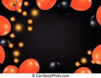 espace, lumière, balloon, halloween, conception, fond, ampoule, copie